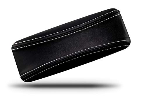Protective Case for Reading Glasses - Designed for Men and Women - Prevent Scratches on Your Glasses and Sun Glasses - Premium Leather Felt Lined - Black on Black with White Stitching