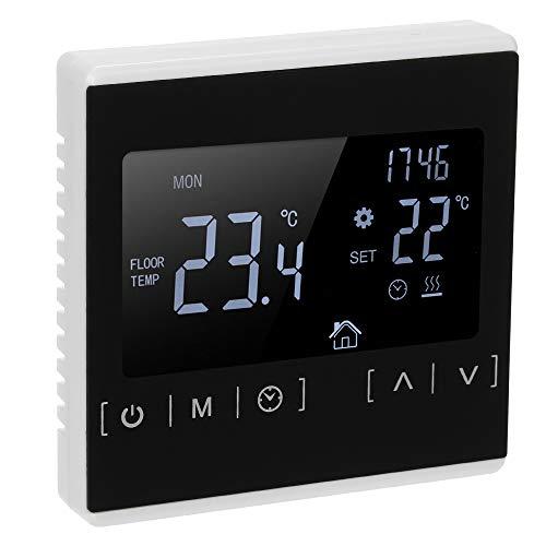 Suelo Radiante Electrico con Termostato Control Horario Temperatura,termostatos Digitales para Suelo Radiante de Pared Calefaccion Programable digital 220v LCD Táctil-Blanco