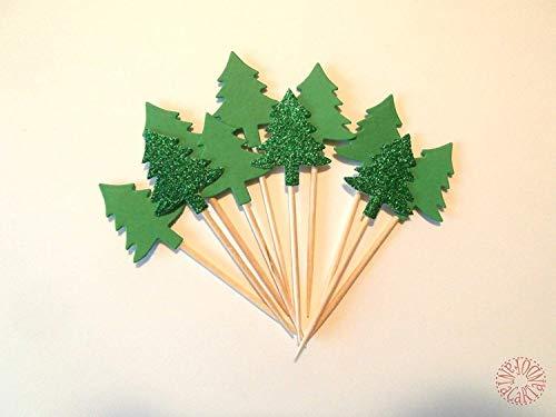 Fantacartando Kit 10 cupcake toppers, stuzzicadenti per feste con albero per decorare la tavola per Natale, capodanno, compleanno tema bosco, campeggio