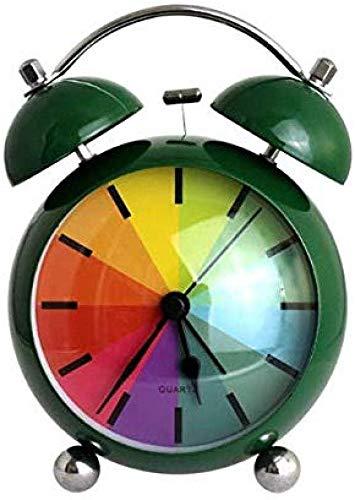 Clock schattige wekker, creatieve wekker van metaal, schattige wekker op eenvoudige wijze, alarmbel met regenboog en schattig horloge, voor slaapkamer, wekker en studio-decoratie