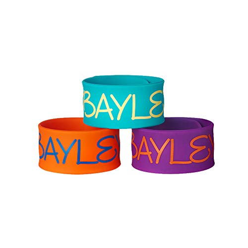 WWE Authentic Wear Bayley 3-Piece Slap Bracelet Set Blue/Orange/Purple