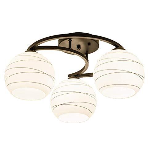Plafondlamp, slaapkamer tweepersoonsbed Nordic Amerikaanse master plafondlamp Jane woonkamer Europees gepersonaliseerd eetkamer glas bal moderne verlichting E27 (grootte: 6 kop)