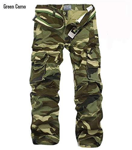 Military Style Army Combat Uniform Camouflage Pants Men's Camo Train Tactical Cargo Pants Casual Cotton Pants Green Camo 30