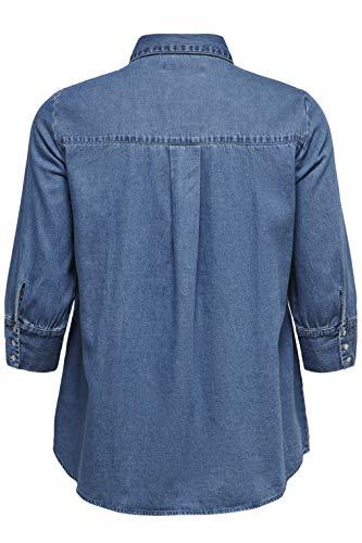 ONLY Carmakoma CARNEW Canberra AUTH DNM Shirt Camisa, Denim Light Medium Blue Denim, 48 para Mujer