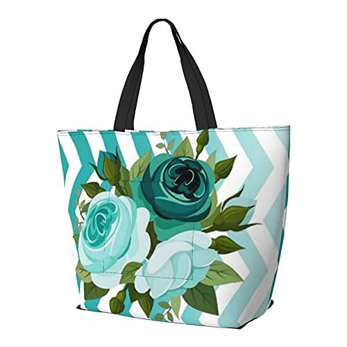 Ombre Chevron Floral Rose Bouquet Aqua Teal Bolsa de hombro multifuncional de gran capacidad, bolso de tableta de trabajo, ligero, bolsa de viaje, bolsa de playa para mujer