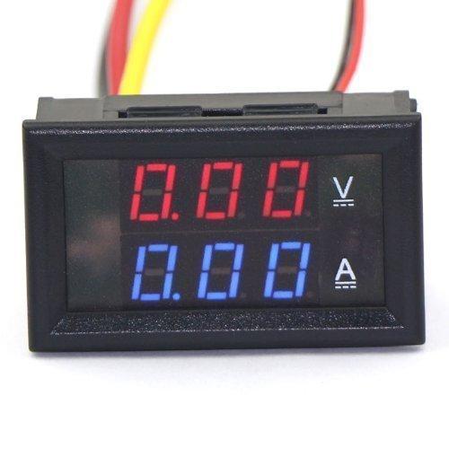 """EasyWordMall 0.28""""100V DC Digital Voltmeter Ammeter Strom Spannungsmessung LED Dual Display Amperemeter Volt Amp Panel Meter (Rot+Blau; 50A)"""