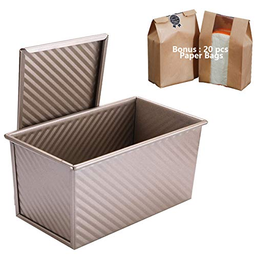 Pullman Loaf Pan with Lid - 1lb (450g) Non-Stick Bakeware Bread Toast Mold with Cover - Carbon Steel Corrugated Baking Bread Pan