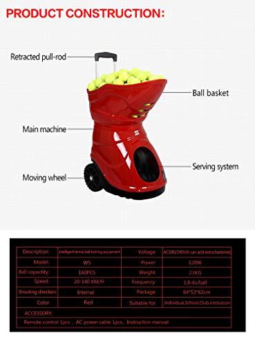 SKYEGLE Elektronische Tennisballmaschine, tragbarer Tennisballwerfer, automatische Übungsausrüstung, Ballwerfer, Shooter mit Fernbedienung für Anfänger-Tennistraining – W5