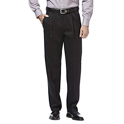 HAGGAR Men's Premium No Iron Classic Fit Expandable Waist Pleat Front Pant, Black, 38x32