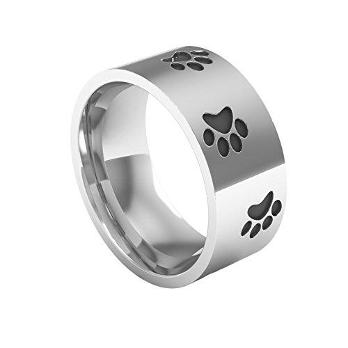 Fengteng Silber Damenring mit Gravur Schwarz Pfote Ring Hund Tatze 8mm Breit Fingerring Schmuck (62 (19.7))