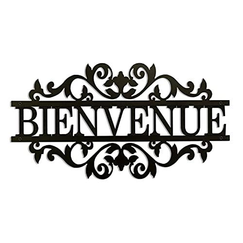 Décoration murale en métal noir - Bienvenue - Déco extérieur (35x18 cm)
