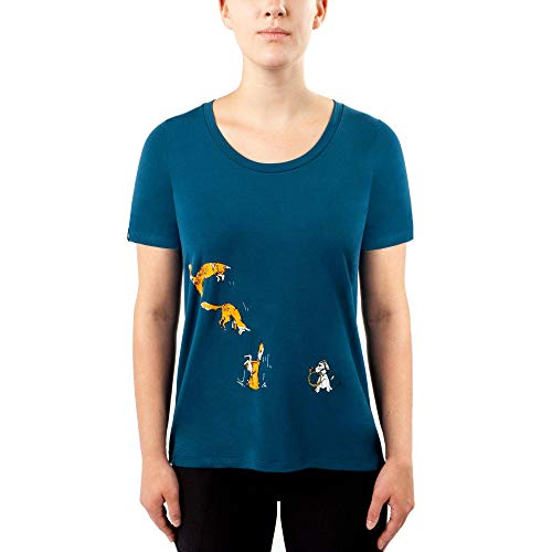 Camiseta feminina Irideon Fox Games Swing, Baltic Blue, Medium