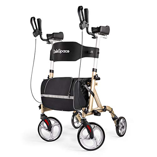 OasisSpace Lightweight Rollator Walker with Seat - Armest Walker with Back Support for Elderly