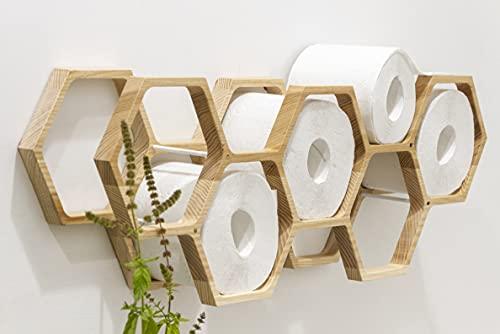 Porte-papier en bois pour papier toilette - Étagère en forme de nid d'abeille (Naturel)