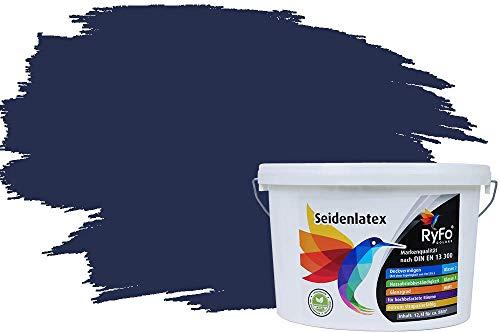 RyFo Colors Seidenlatex Trend Blautöne Nachtblau 12,5l - bunte Innenfarbe, weitere Blau Farbtöne und Größen erhältlich, Deckkraft Klasse 1