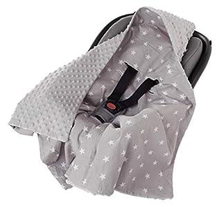 Manta para Bebé 85x85cm una Capucha 100% Algodón de felpa Minky Multifuncion Doble cara para cochecitos suave y mullido Medi Partners (Estrellas blancas sobre gris con gris Minky)