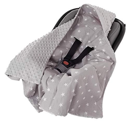 Einschlagdecke 100% Baumwolle 85x85cm doppelseitig multifunktional Minky Kuscheldecke für Kinderwagen weich flauschig (weiße Sterne mit grauem Minky)