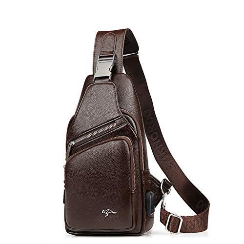 Elonglin Bolsa tiracolo masculina de couro sintético com porta de carregamento USB, Macio, Brown 2, 17.5*32.5*7.5CM
