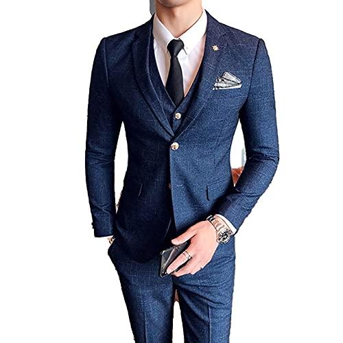 Outwear (chaqueta + chaleco + pantalones moda boutique celosía formal traje de negocios para hombre 3Pces conjunto novio vestido de boda a cuadros traje espectáculo escenario