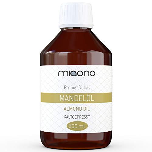 Mandelöl (500ml) - 100% reines kaltgepresstes Öl in einer Glasflache von miaono
