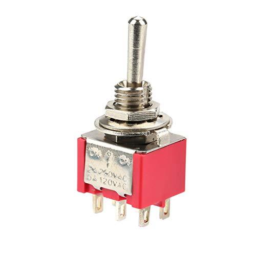 Interruptor de palanca, 10 piezas Interruptor de palanca momentáneo ON-OFF-ON DPDT 6 pines 6 mm 2A/250VAC 5A/120VAC