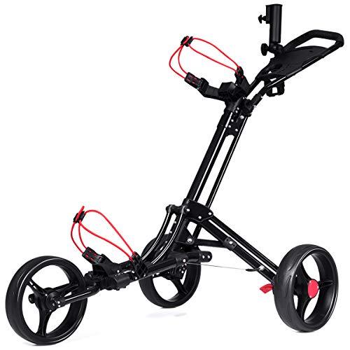COSTWAY 3-Rad Golftrolley schwarz