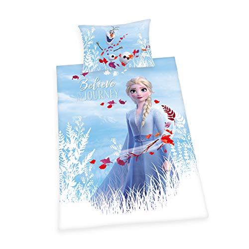 Bettwäsche-Set Disney's Die Eiskönigin 2, Kopfkissenbezug ca. 65x100cm, Bettbezug ca. 160x210cm, 100% Baumwolle, Renforcé, mit leichtläufigem Reißverschluss