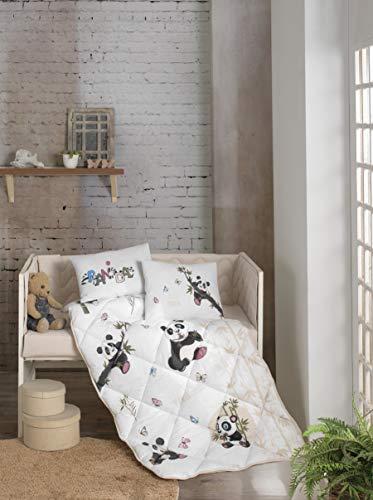 BEKATA - 6 Stuks Quilt Set 100% Katoen Kwekerij wieg Set voor Meisjes & Jongens, Baby Comforter/Quilt Set met wieg Bumper, Comforter, wiegje, Kussenslopen, Anti Allergie Panda 6 stuks Quilt Set