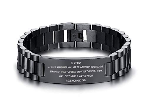 MEALGUET Stainless Steel to My Son Love Dad and Mom Courage Inspirational Wristband Link Bracelets, Graduation Birthday Gifts to Son