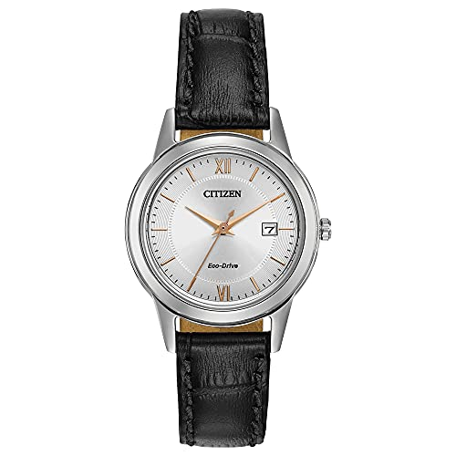 Citizen Eco-Drive Corso Quartz Womens Watch, Stainless Steel with Leather strap, Classic, Black (Model: FE1086-04A)