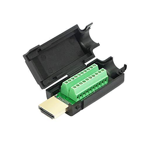 CERRXIAN Adaptador de bloque de terminales de tornillo HDMI, chapado en oro HDMI macho a terminal sin soldadura, módulo de señal con funda