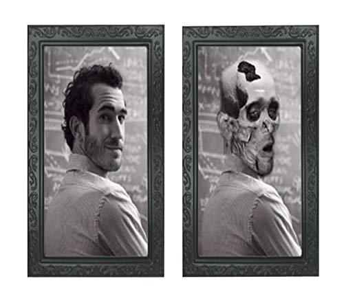Elaine Room 3D-Bilderrahmen, Horror, Geist, Lentikular, wechselnde Bewegung, Zombie, Vampir, Thema, Halloween, Party, Heimdekoration, Dekoration, Wandbild, Spooky, Schwarz (G)