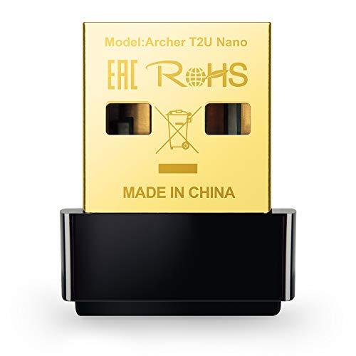 TP-Link Archer T2U Nano AC600 USB WLAN Stick Adapter (433MBit/s 5GHz, 200MBit/s 2,4GHz 802.11ac/n, WPA und WPA2-Verschlüsselungs-Standard, Unterstützt Windows 10/8.1/8/7/XP, Mac OS) schwarz/gold