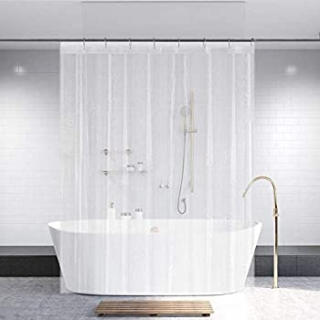 Ga-Geetopia PEVA Clear Plastic Shower Curtain Liner 72  x 72  - 1 Pack Water Repellent Premium Lightweight Odorless Clear Bathroom Showroom/Office/Classroom Curtain Liner with Rustproof Top Header