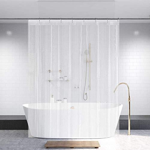 "Ga-Geetopia PEVA Clear Plastic Shower Curtain Liner 72"" x 72"" - 1 Pack Water Repellent Premium Lightweight Odorless Clear Bathroom Showroom/Office/Classroom Curtain Liner with Rustproof Top Header"