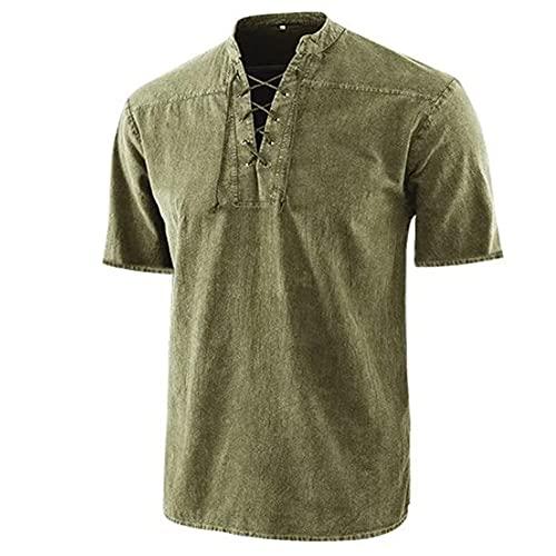 Camisa Hombre Cuello En V Color Sólido Corbata Moda Urbana Negocios Casual Hombres Manga Corta Verano Ligero Camisa Cómoda De Ocio Hombres G-Yellow XXL