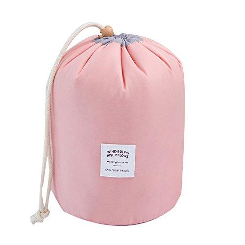 NBLYW Barrel Shaped Travel Trekkoord Make-up Tassen, Lichtgewicht Multifunctionele Trekkoord Hangende Verpakking Tas voor Vrouwen Meisje Mannen, Roze