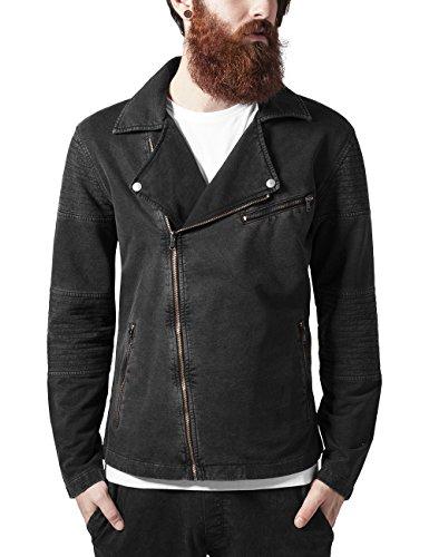 Urban Classics Acid Wash Terry Biker Jacket Chaqueta, Gris (Darkgrey 94), Large para Hombre