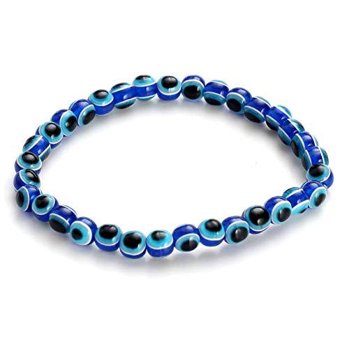 YCWDCS ArmbandMode-Design Gemütliche Familie Eltern-Kind-Anzug Armreif Blue Evil Eye Harz Perlen Armband Schmuck