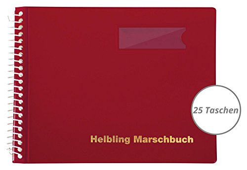Helbling BMR25 Marschbuch (Notenbuch mit 25 blendfreien Klarsichthüllen, Umschlag aus flexiblem Kunststoff, bruchsichere Spiralbindung, wetterfest, Querformat: 18 x 14 cm) rot