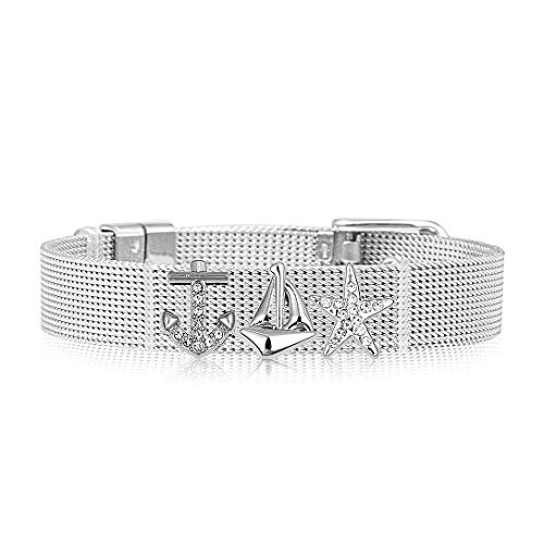 LUXERY Damen Armband Set Charms Anhänger schiebe Elemente armbänder Individuelle Charm Schmuck selber gestalten Mesh Silber