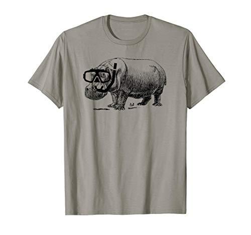 Hippo Shirts: Nilpferd mit Schwimmen Maske/Schnorchel Premium T-Shirt