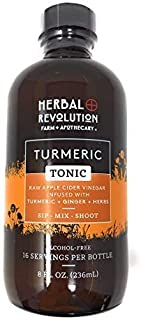 Herbal Revolution   Turmeric Tonic   Superfood Blend of Organic Raw Apple Cider Vinegar, Honey, Turmeric, and Spices   Incorporate Turmeric into Your Daily Life   8 Fl Oz Bottle