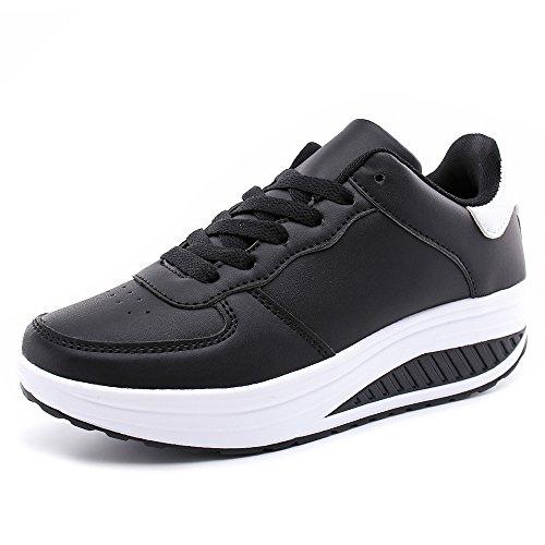 Hoylson Zapatillas Deportivas de Mujer Zapatos de Cuña Aptitud Sneakers Calzado para Damas Blanco Negro Rosado 35-42