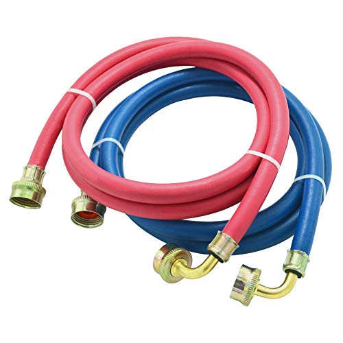 Washing Machine Hose Rubber with 90 Degree Elbow, 6 FT Burst Proof Red and Blue Color Coded Water Connection Inlet Supply Lines,2 Pack