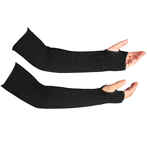 Black Kevlar Welding Sleeves Flame Resistant with Thumb Hole 18' Long Arm Sleeve