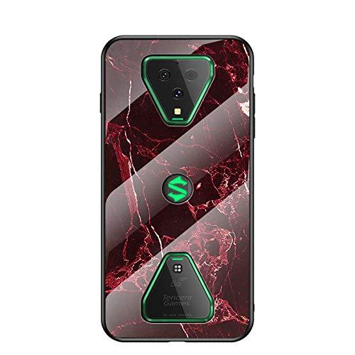 Hülle für Xiaomi Black Shark 3 Hülle,Marmor Gehärtetem Glas und Silikon Rand Hybrid Hardcase Stoßfest Kratzfest Handyhülle Dünn Hülle Handyhülle für Xiaomi Black Shark 3 (Rot)