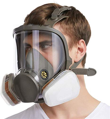 Full Face Gas Mask, Tactical Dummy Anti Fog Gas Face Mask with Double Fan Airsoft Paintbal Protection Gear, for Spray Painting Benzene Preventio