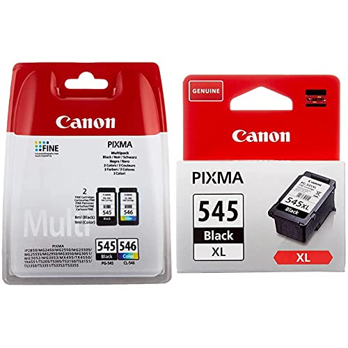Canon PG-545 + CL-546 Cartucho Multipack de Tinta Original Negro y Tricolor + PG-545XL Cartucho de Tinta Original Negro XL para Impresora de Inyeccion de Tinta Pixma