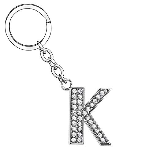 Llavero de plata con letra del alfabeto, para mujer, hombre,...
